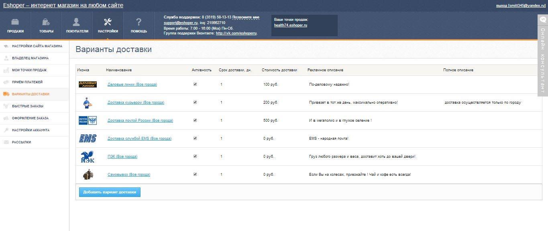 03033bf22272a Возможности платформы для создания интернет магазинов. CMS Eshoper ...